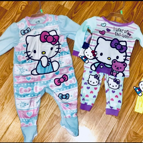 Disney Other - Hello Kitty Two Full Set PJs In 9 Month Footies